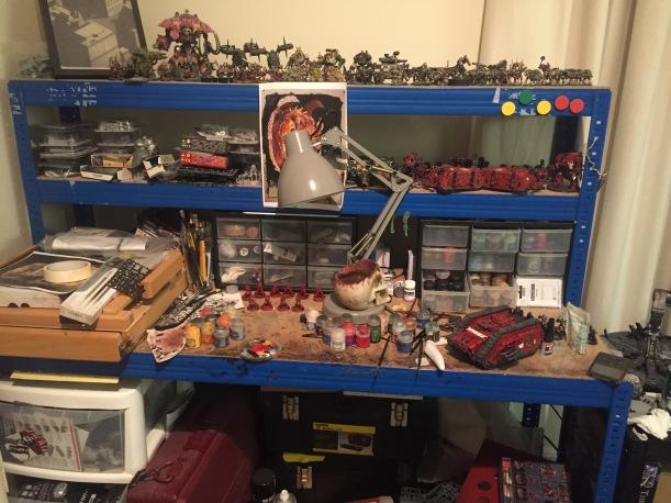 messy hobby desk