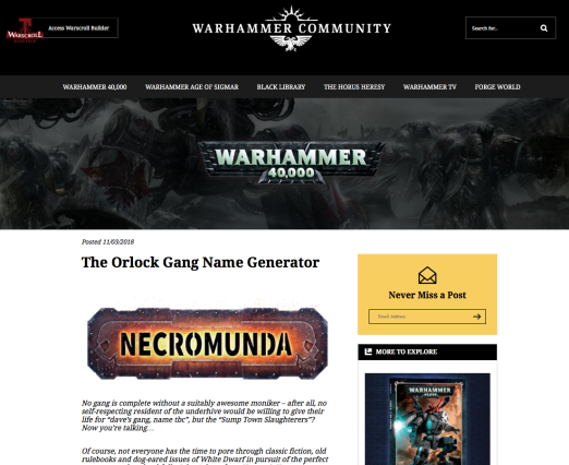 orlock gang name generator john ashton warhammer community